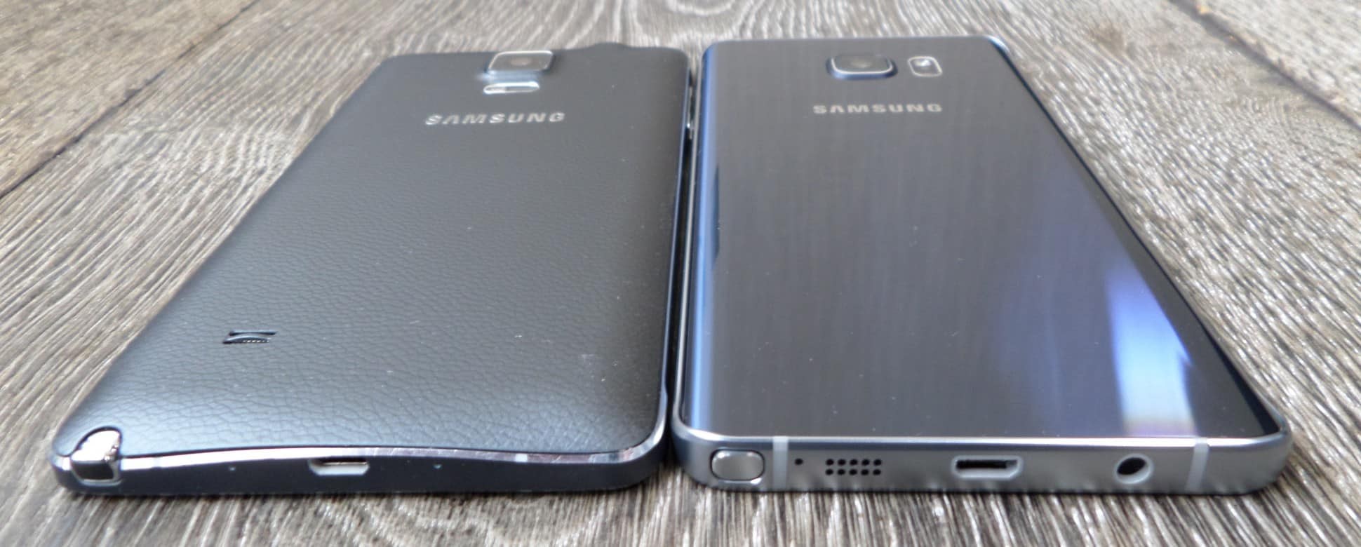 The Galaxy Note 5 (right) has greatly upgraded build materials compared to the Galaxy Note 4 (left) - Image credit Gordon Kelly